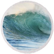 Beautiful Wave Breaking Round Beach Towel