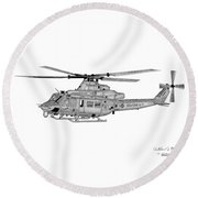 Round Beach Towel featuring the digital art Bell Helicopter Uh-1y Venom by Arthur Eggers