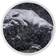 Black Panther Statue Seen Through Falling Snow Flakes Round Beach Towel