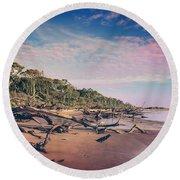 Round Beach Towel featuring the photograph Black Rock Beach by Peter Lakomy