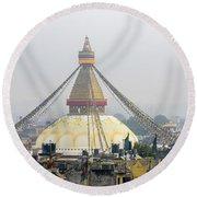 Boudhanath Stupa In Kathmandu Round Beach Towel