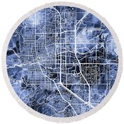 Boulder Colorado City Map Round Beach Towel