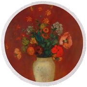 Round Beach Towel featuring the painting Bouquet In A Chinese Vase by Odilon Redon
