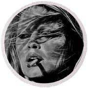 Brigitte Bardot Round Beach Towel