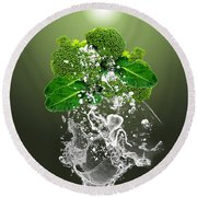Broccoli Splash Round Beach Towel