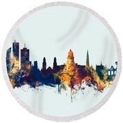Round Beach Towel featuring the digital art Brussels Belgium Skyline by Michael Tompsett