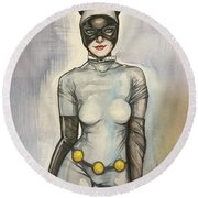 Catwoman  Round Beach Towel