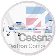 Round Beach Towel featuring the digital art Cessna O-2 Skymaster by Arthur Eggers