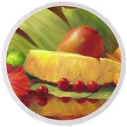 4 Cherries Round Beach Towel by Laurie Hein