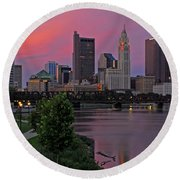 D2l37 Columbus Ohio Skyline Photo Round Beach Towel