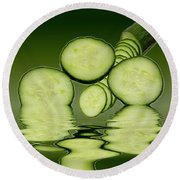 Cool As A Cucumber Slices Round Beach Towel