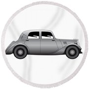 Round Beach Towel featuring the digital art Coupe - Vintage Model Of Car by Michal Boubin