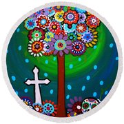 Day Of The Dead Round Beach Towel by Pristine Cartera Turkus