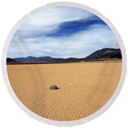 Round Beach Towel featuring the photograph Death Valley Racetrack by Breck Bartholomew