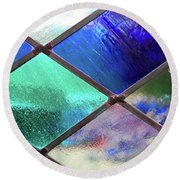 Diamond Pane Glass Blue Round Beach Towel