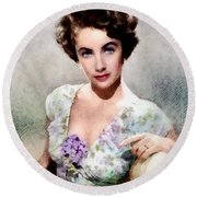 Elizabeth Taylor, Vintage Hollywood Legend Round Beach Towel by John Springfield