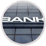 Glass Bank Building Signage Round Beach Towel