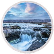 Godafoss Waterfall In Iceland Round Beach Towel