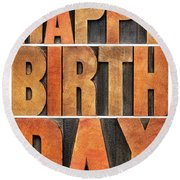Happy Birthday Greeting Card Round Beach Towel