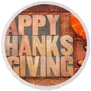 Happy Thanksgiving Greeting Card Round Beach Towel