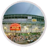 Round Beach Towel featuring the photograph High Angle View Of Tourists by Panoramic Images