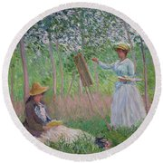 In The Woods At Giverny Round Beach Towel