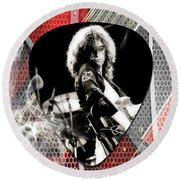 Jimmy Page Art Round Beach Towel