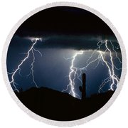 4 Lightning Bolts Fine Art Photography Print Round Beach Towel