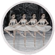 4 Little Swans Round Beach Towel by Methune Hively