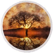 Round Beach Towel featuring the digital art Lone Tree by Ian Mitchell