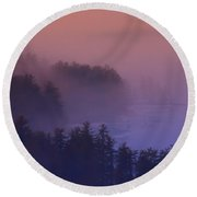 Melvin Bay Fog Round Beach Towel