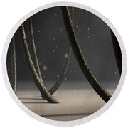 Microscopic Hair Fibers Round Beach Towel