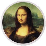 Mona Lisa Round Beach Towel