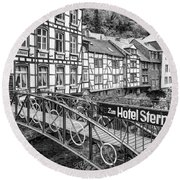 Monschau In Germany Round Beach Towel