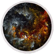 Multicolored Abstract Figures Round Beach Towel