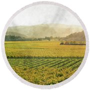Napa Valley California In Autumn Round Beach Towel