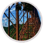 New River Gorge Bridge Round Beach Towel