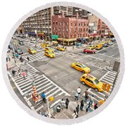 New York City Round Beach Towel by Luciano Mortula