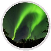 Northern Lights, Aurora Borealis At Kantishna Lodge In Denali National Park Round Beach Towel