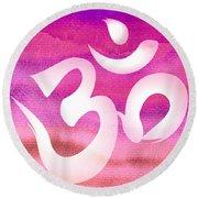 Om Symbol. Pink Round Beach Towel