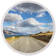 On  The Road In New Zealand Round Beach Towel