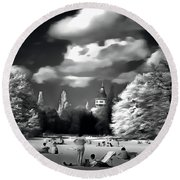 Round Beach Towel featuring the painting People Resting In The Park by Odon Czintos