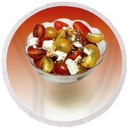 Plum Cherry Tomatoes Round Beach Towel by David French