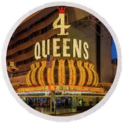 4 Queens Casino Entrance Round Beach Towel