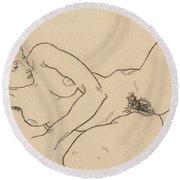 Reclining Nude Round Beach Towel