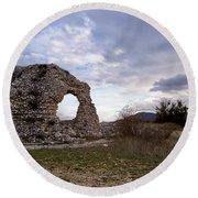 Roman Ruins Round Beach Towel by Judy Kirouac