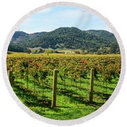 Rows Of Grapevines In Napa Valley California Round Beach Towel