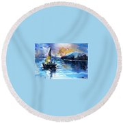 Round Beach Towel featuring the painting Sailboat by Kovacs Anna Brigitta