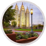 Salt Lake Temple Round Beach Towel
