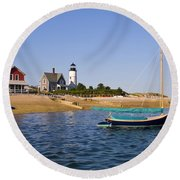 Sandy Neck Lighthouse Round Beach Towel by Charles Harden